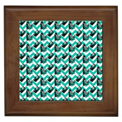 Vintage Camera Chevron Aqua Framed Tiles by snowwhitegirl