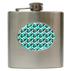 Vintage Camera Chevron Aqua Hip Flask (6 Oz)