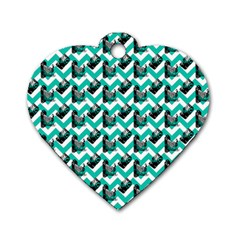 Vintage Camera Chevron Aqua Dog Tag Heart (one Side)