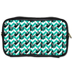 Vintage Camera Chevron Aqua Toiletries Bag (one Side)