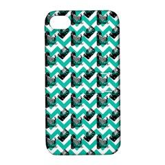 Vintage Camera Chevron Aqua Apple Iphone 4/4s Hardshell Case With Stand