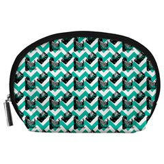 Vintage Camera Chevron Aqua Accessory Pouch (large)