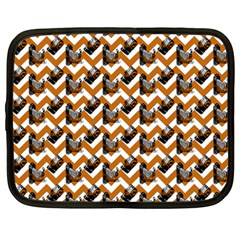 Vintage Camera Chevron Orange Netbook Case (large) by snowwhitegirl