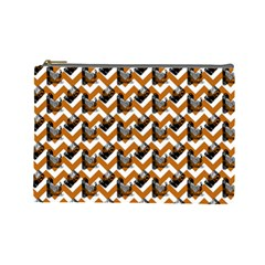 Vintage Camera Chevron Orange Cosmetic Bag (large)