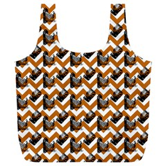 Vintage Camera Chevron Orange Full Print Recycle Bag (xl)