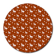 Deer Dots Orange Round Mousepads by snowwhitegirl