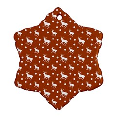 Deer Dots Orange Ornament (snowflake)