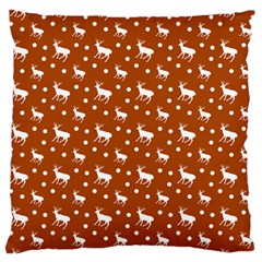 Deer Dots Orange Large Flano Cushion Case (two Sides)