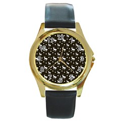 Deer Dots Brown Round Gold Metal Watch