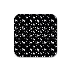 Deer Dots Black Rubber Square Coaster (4 Pack)