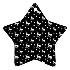 Deer Dots Black Star Ornament (two Sides)