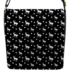 Deer Dots Black Flap Closure Messenger Bag (s)