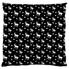 Deer Dots Black Large Flano Cushion Case (one Side)
