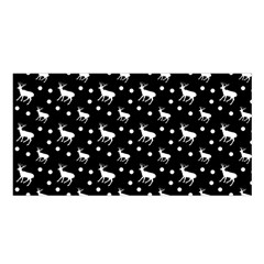 Deer Dots Black Satin Shawl