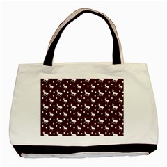 Deer Dots Red Basic Tote Bag
