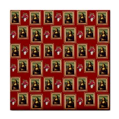 Mona Lisa Frame Pattern Red Tile Coasters