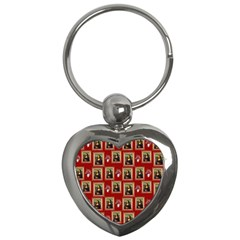 Mona Lisa Frame Pattern Red Key Chains (heart)