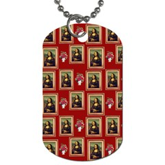 Mona Lisa Frame Pattern Red Dog Tag (two Sides)