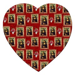 Mona Lisa Frame Pattern Red Jigsaw Puzzle (heart)