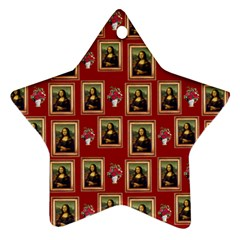 Mona Lisa Frame Pattern Red Star Ornament (two Sides)