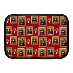 Mona Lisa Frame Pattern Red Netbook Case (medium) by snowwhitegirl