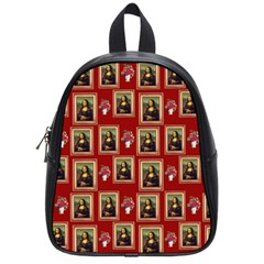 Mona Lisa Frame Pattern Red School Bag (small)