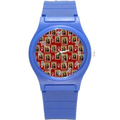 Mona Lisa Frame Pattern Red Round Plastic Sport Watch (s)