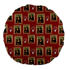 Mona Lisa Frame Pattern Red Large 18  Premium Round Cushions