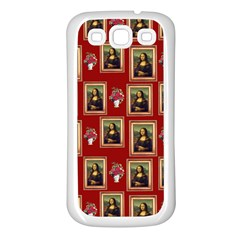 Mona Lisa Frame Pattern Red Samsung Galaxy S3 Back Case (white)