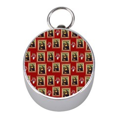 Mona Lisa Frame Pattern Red Mini Silver Compasses
