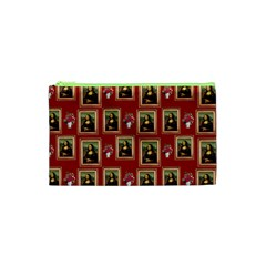 Mona Lisa Frame Pattern Red Cosmetic Bag (xs)