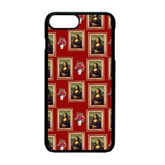 Mona Lisa Frame Pattern Red Apple Iphone 7 Plus Seamless Case (black)