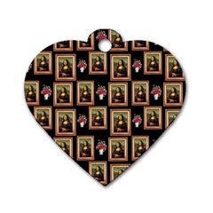 Mona Lisa Frame Pattern Dog Tag Heart (one Side)