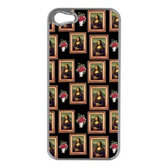 Mona Lisa Frame Pattern Apple Iphone 5 Case (silver) by snowwhitegirl