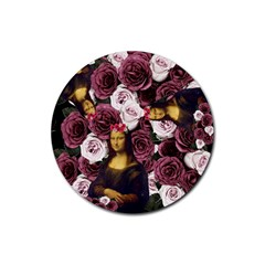 Mona Lisa Floral Black Rubber Round Coaster (4 Pack)