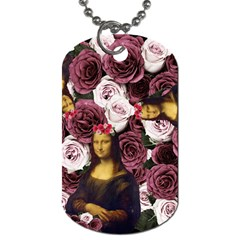 Mona Lisa Floral Black Dog Tag (one Side)