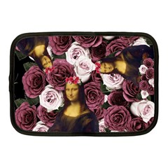 Mona Lisa Floral Black Netbook Case (medium)