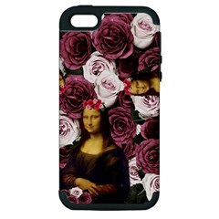 Mona Lisa Floral Black Apple Iphone 5 Hardshell Case (pc+silicone)