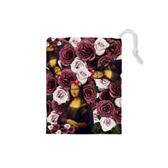 Mona Lisa Floral Black Drawstring Pouch (small)