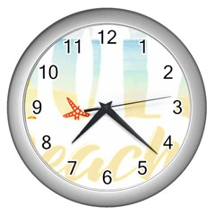 Hola Beaches 3391 Trimmed Wall Clock (silver)