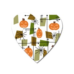 Halloween Mid Century Modern Heart Magnet by KayCordingly