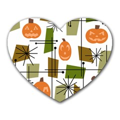 Halloween Mid Century Modern Heart Mousepads by KayCordingly