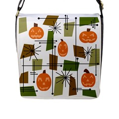 Halloween Mid Century Modern Flap Closure Messenger Bag (l) by KayCordingly