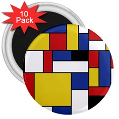 Mondrian Geometric Art 3  Magnets (10 Pack)  by KayCordingly