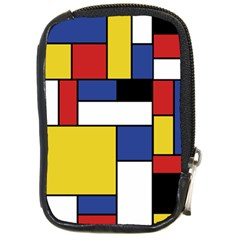Mondrian Geometric Art Compact Camera Leather Case by KayCordingly