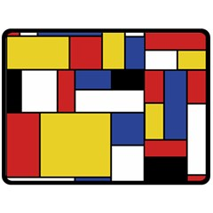 Mondrian Geometric Art Fleece Blanket (large)  by KayCordingly