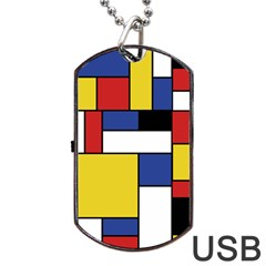 Mondrian Geometric Art Dog Tag Usb Flash (two Sides) by KayCordingly