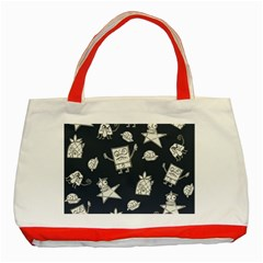 Doodle Bob Pattern Classic Tote Bag (red) by Valentinaart