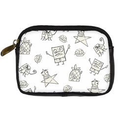Doodle Bob Pattern Digital Camera Leather Case by Valentinaart