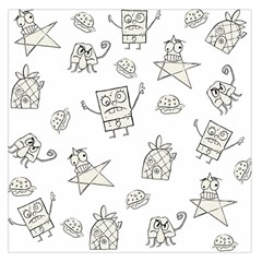 Doodle Bob Pattern Large Satin Scarf (square)